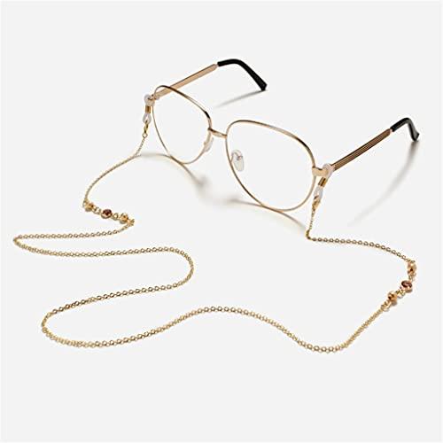 YFQHDD Cuerda con Helada Cristal de Cristal Cuerdas de Cadena de Cobre de Lectura Gafas de Lectura Cadena Mujeres Gafas de Sol Accesorios Accesorios Sostenga Correas (Color : A, Size : Length-70CM)