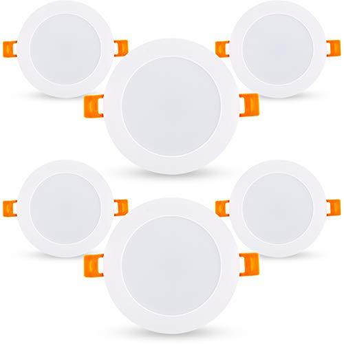 LED plafondlamp, 6W schijnwerpers gelijkwaardig aan 50W, Downlight 3000K warm wit, 500LM ronde paneel lampen voor badkamer hal kantoor, niet-dimbaar, IP65, Pack van 6.