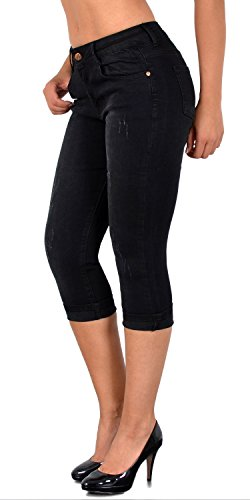 ESRA Damen Capri Hose mit Risse Damen Caprihose Kurze Jeans Hose bis Übergröße J400 / J400-schwarz_36