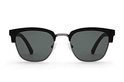 TAKE A SHOT - Halbrahmen Holz-Sonnenbrille unisex, Holz-Bügel mit Metall-Kunststoff-Rahmen, UV400 Schutz, rückentspiegelte Gläser, Lynch