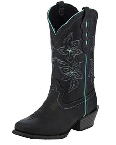 Justin Women's Buffalo Western Boot Square Toe Black 10.5 M