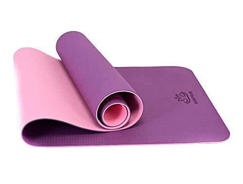 Bontour Pilatesmatte Gymnastikmatte,Yogamatte rutschfest aus TPE,Übungsmatte Sportmatte für Yoga,Pilates, Fitness-183 x 61 x 0,6cm (Lila-Pink)
