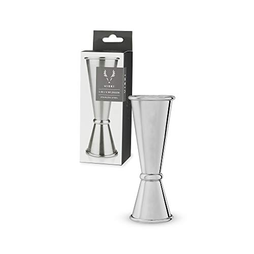 Viski Japanese Style Double Jigger for Cocktails Bar Kit Essential with Interior Measurements 1 oz and 2 oz Stainless Steel