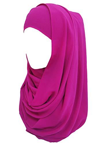 Lina & Lily Bubble Chiffon Damen Muslim Hijab Kopftuch Schal Turban (Violett-Rot)
