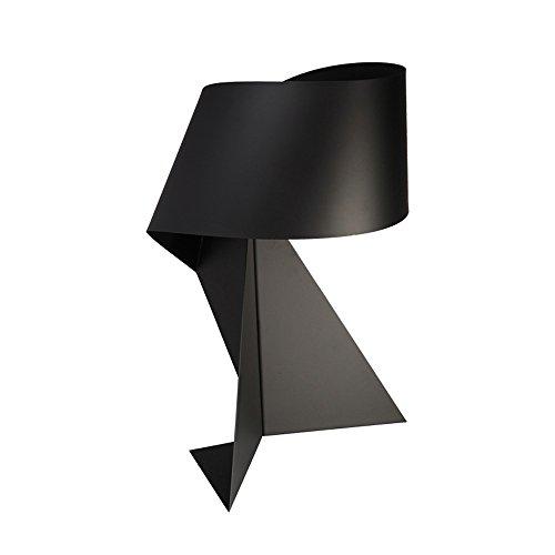 Pointhx Moderne Einfachheit Schwarz Eisen Schreibtischlampe Edison E27 Lampenfassung Kreative Origami Tischlampe Schlafzimmer Wohnzimmer Nachttischlampe, Schwarz