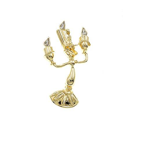 UUK - Spilla a forma di candelabro con strass, stile barocco da donna