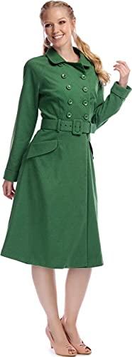 Collectif Damen Mantel Addy Vintage Buttoned A-Linie Coat Grün XS