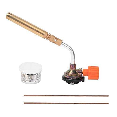 Gas Blow Torch, Gas Blow Torch Portable Verstelbare Handmatige Ontsteking Laspistool met 2 Stuks Lasstaaf Flux 1300 ℃ voor Outdoor BBQ Desserts, Creme Brulee en Baking