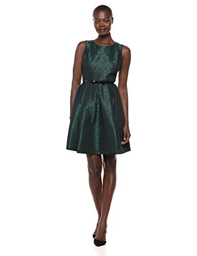 NINE WEST Women's Jacquard Crew Neck Fit and Flare Dress with Belt,...