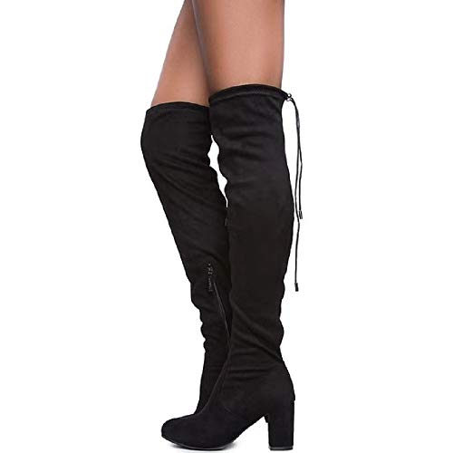 ShoBeautiful Women's Over The Knee Boots Stretchy Thigh High Chunky Block Heel Boots (8 M US, Black)