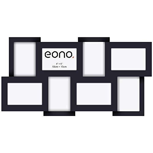Eono by Amazon - Marco multifoto para Pared con Cristal de Alta Definición para un Collage de 8 imágenes de 10x15 cm Negro