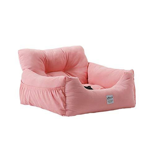 NIBESSER Autositz für Hunde 2-in-1 Autositz und Bett Haustier Sitzerhöhung Wasserdicht Faltbar Atmungsaktiv Weich Hundekorb mit Sicherheitsgurt (rosa,L-60 * 50 * 36cm)