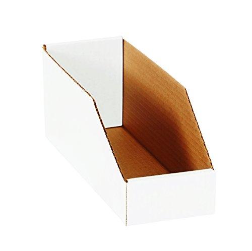"Aviditi BINMT612 Corrugated Open Top Bin Box, 12"" Length x 6"" Width x 4-1/2"" Height, Oyster White (Case of 50)"