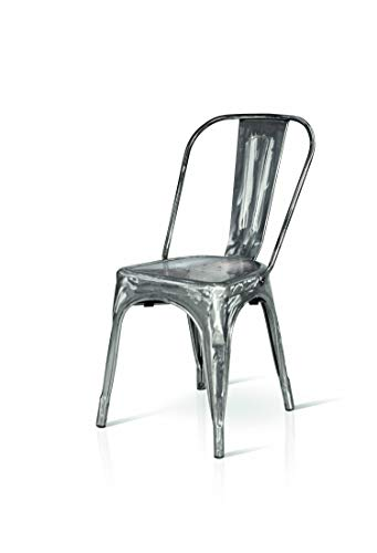 Fashion Commerce Tolix Sedie, Metallo, Argento, 45x50x60 cm, 4 unità