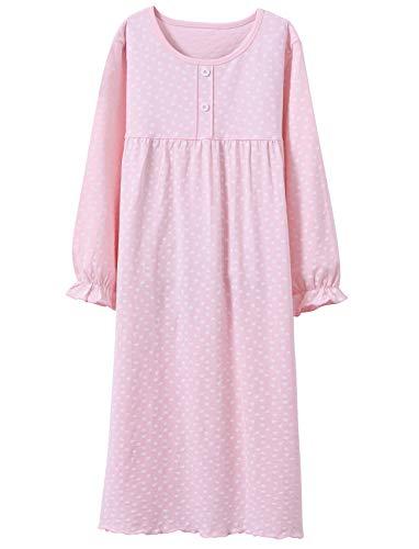 BOOPH Girls Dress Cotton Heart Shape Casual Dress Princess 3-4T Long Sleeve Pink