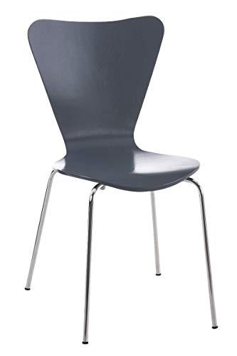 CLP Konferenzstuhl Calisto mit Holzsitz und stabilem Metallgestell I Platzsparender Stuhl mit Einer Sitzhöhe von: 45 cm, Farbe:grau