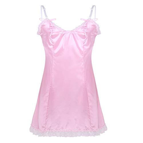 inhzoy Herren Sissy Kleider Satin Nachtkleid Männer Dessous-Crossdresser Reizwäsche Cosplay Party Bekleidung Kostüm Outfit Pink Rosa Schwarz Rosa XX-Large