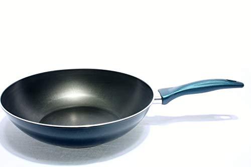 Flonal Wokpfanne Wok 28 cm Antihaftbeschichtet mit Antirutschgriff, Teflon Bratpfanne, schwarz