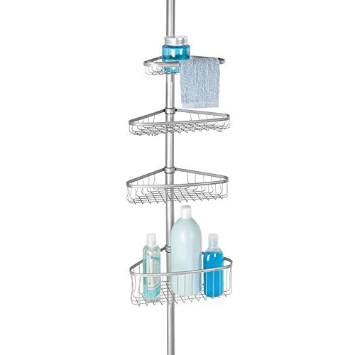 mDesign Organizador de ducha telescópico – Estante para ducha de metal – Cesta de ducha sin taladro ideal para champú, cuchillas, esponjas y otros accesorios de baño – Plateado