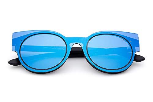 Saraghina, EYEWEAR, SPACE8/C, modelo SING, SPACE8/C-02SPB, gafas de sol negras/azul, lente de espejo azul para hombre y mujer, unisex, ultraligero.