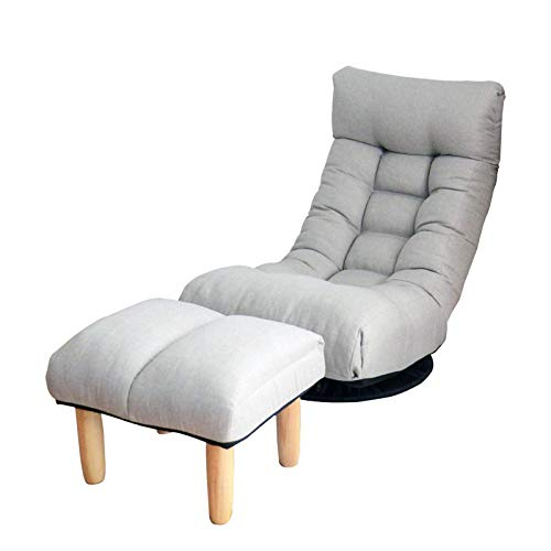 Floor Single Sofa Reclining Chair 360 Degree Swivel Chair Adjustable Folding Chair with Comfortable Padded Backrest Balcony Chair Leisure Sofa Gray