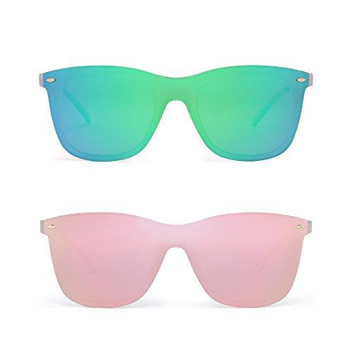 Sin Montura Espejo Gafas de Sol Una Pieza Sin Marco Anteojos Hombre Mujer 2 Paquete(Verde&Rosa)