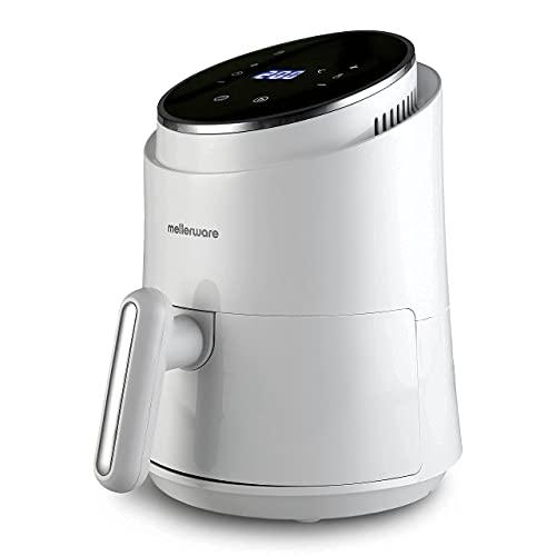 Mellerware - Freidora sin Aceite Crunchy! 1230W | 7 Programas Predefinidos | Temporizador Programable | Air Fryer 80-200 Grados | Diseño Compacto| 1,4L | Sin BPA/PFOA | Freidora de Aire | (White)