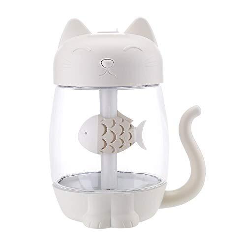 ZHLEYI Humidificadores de Aire 350 ml Humidificador de Aire de Gato con Color LED Luz Ultrasonic 3 en 1 Adorable Cat Eat Fish Humidificador USB Aroma Difusor Fogger (Color : White)