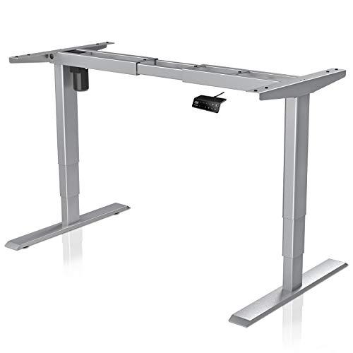MAIDESITE Höhenverstellbarer Schreibtisch Rahmen Tischgestell höhenverstellbar mit Kollisionschutz Schreibtisch höhenverstellbar elektrisch mit 3-Bühne Hebe Beine(Grau