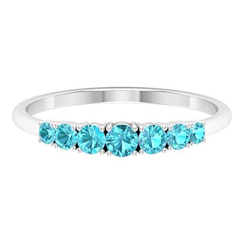 7 anillos de piedra para mujer, anillo de piedras preciosas, anillos de aniversario para mujer, oro blanco, Metal precioso. Piedra preciosa. Piedra, Diamante negro creado en laboratorio,