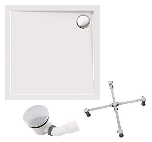 Calmwaters® - Modern Select - Flache Duschtasse im Komplettset in 90 x 90 cm aus Acryl mit Wannenfuß & Ablaufgarnitur - 99000102