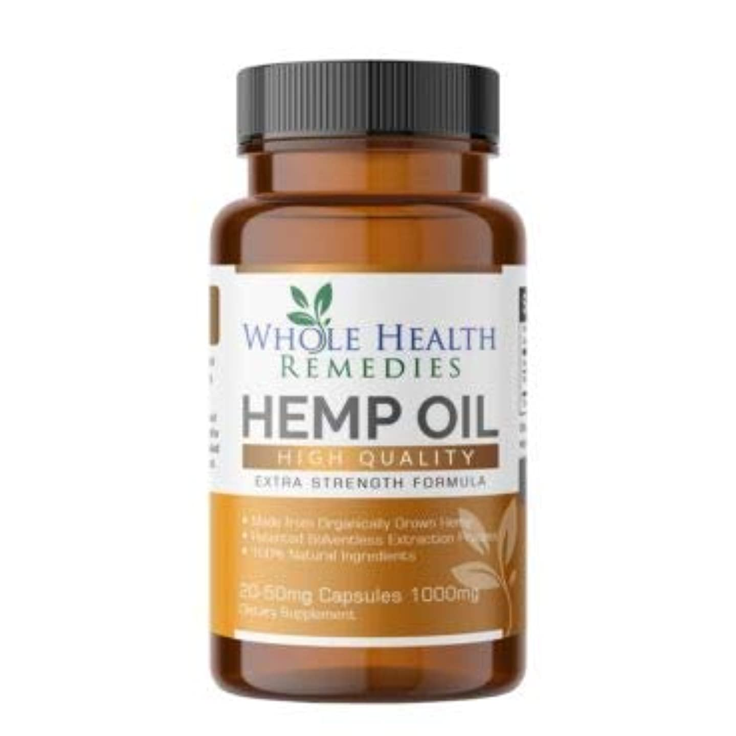 Hemp Oil Capsules – 1000 MG of Pure Hemp Extract Per Bottle – for Pain, Stress, Anxiety Relief, Natural Sleep aid & Mood Support - Made in The USA, Organically Grown and Non-GMO & Patented Tech