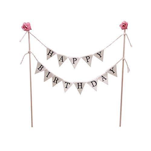 1 guirnalda de banderines para tarta de cumpleaños hecha a mano con palo de madera, color marfil y rosa