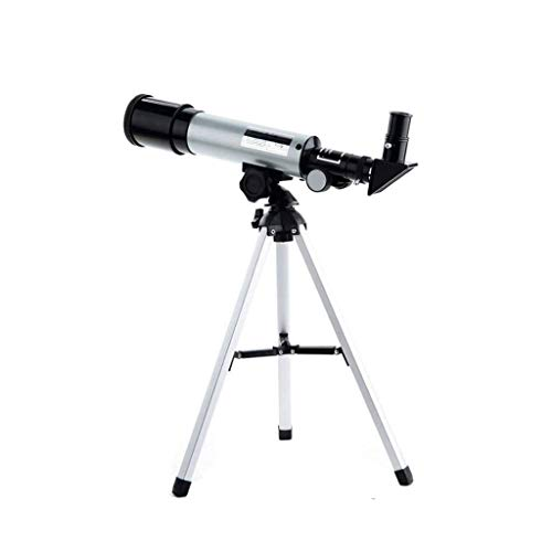 Niño Astronómico Telescopio,con Tripode Clip para Celular Portatil 360° Ajustable 360X50mm Refractor Telescope para Principiantes De Astronomía Acampar Estudio De Las Estrellas-Negro Plata