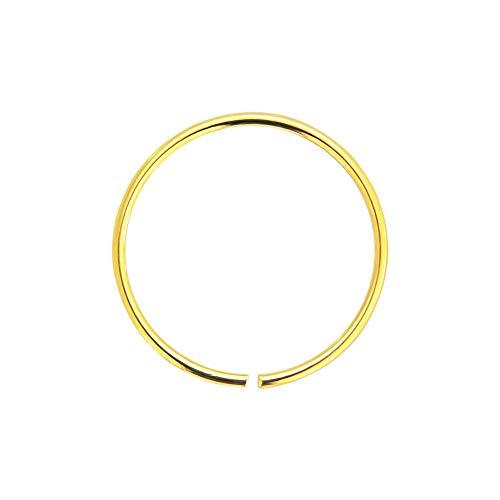 AZARIO LONDON 14K Yellow Gold 24 Gauge (0.4MM) - 6MM Diameter Seamless Continuous Nose Hoop Ring