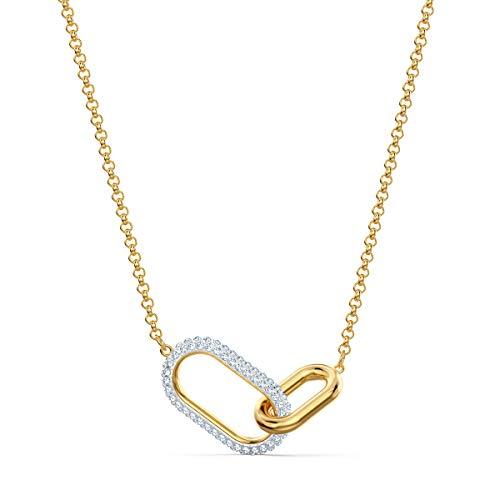 Swarovski Time Halskette, Funkelnde Damenhalskette im Metallmix mit Zwei Ineinandergreifenden Kettengliedern und Klarem Kristallpavé