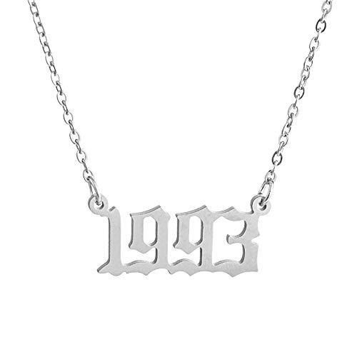 Lixinli Collar con colgante vintage de fecha de cumpleaños de 1980 a 2019 personalizado de oro y plata (1993, plata)