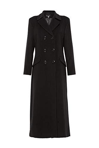 Anastasia - Damen Schwarz Lange Winter Wolle und Kaschmir Zweireiher Mantel Größe 38