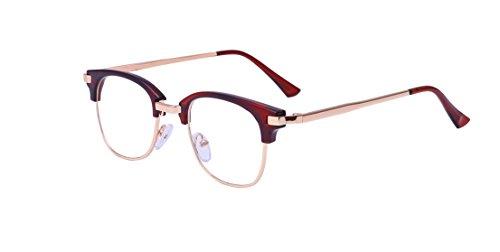 ALWAYSUV ALWAYSUV Retro Klare PC Linse Metall Bügel Halb Rahmen Unisex Streberbrille Brillenfassung