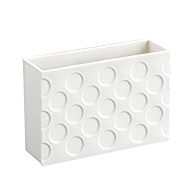 Ayanav Refrigerator Strong Magnet Organizer Basket Box Container Magnets Plastic Holder for Whiteboard Recipe Note Stationery Utensil Storage Rack Tableware Office Kitchen Kids Room [White]