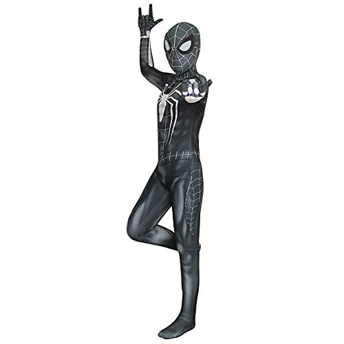 MODRYER Ragazzi Venom Cosplay Costume Bambini Performance Tuta Tuta Settale Set Spiderman Roleplay Onesies Lycra Spandex Zentai per Halloween Regalo di Natale,Black-Adult/M/(160~165cm)
