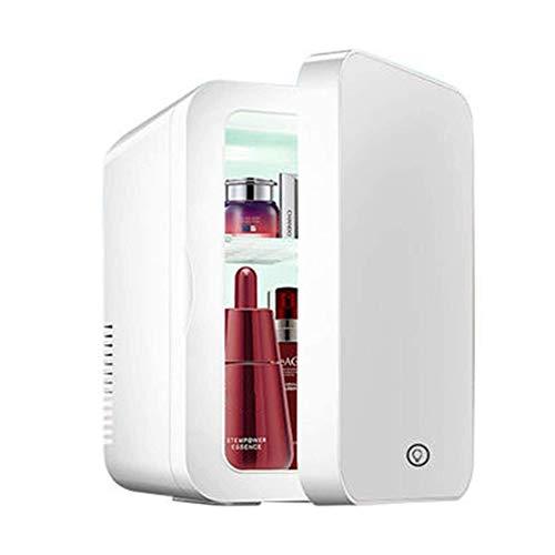 Mini refrigerador de 8 litros, refrigerador de belleza 2 en 1 con espejo de maquillaje, refrigerador para el cuidado de la piel con luz LED, refrigerador portátil compacto, calentador, mini refrigerad