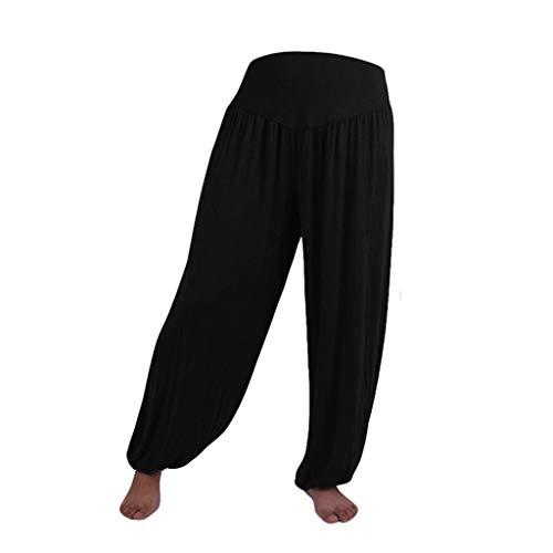 Pantalon Spandex Doux Modal Pantalon Harem Yoga Pilates Pants Lanterne Femmes SANFASHION(Noir,L)
