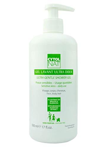 CYTOLNAT® Gel Lavant Ultra Doux 500ml – Aloe Vera - Peaux sensibles et usage quotidien pour toute la famille – Visage, corps, cheveux – Hypoallergénique et sans parfum