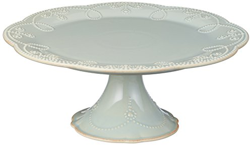 Lenox French Perle Pedestal Cake Plate, Medium, Ice Blue -