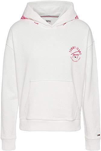 Tommy Jeans Damen Sweatshirt mit Kapuze Weiss (10) L