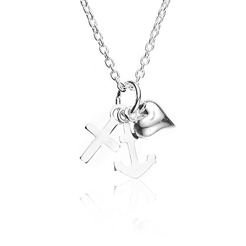 Chuvora 925 Sterling Silver Heart Cross Anchor Pendant Necklace, 18 inches