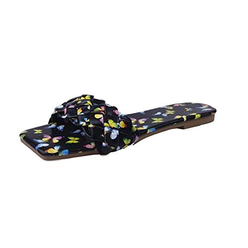 MDCGL Comodas Transpirable Pantuflas Sandalias Planas de Playa con Flores y Puntera Cuadrada para Mujer,toboganes de Piscina cómodos y Casuales para Interiores y Exteriores Negro EU38