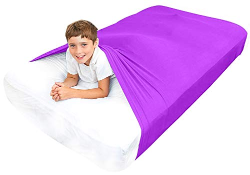 Special Supplies Sensory Bed Sheet for Kids Compression Alternative to Weighted Blankets - Breathable, Stretchy - Cool, Comfortable Sleeping Bedding (Purple, Full)
