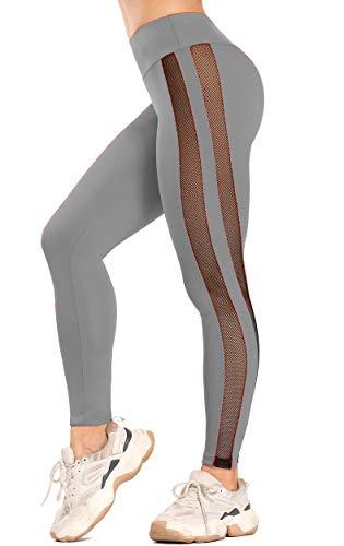 INSTINNCT Collant Tulle Mesh Sexy Femm Legging Sport Respirant Avec Poches Pantalon...